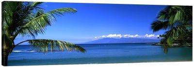 Distant View Of Molokai From Kapalua Beach, Maui, Hawaii, USA Canvas Art Print