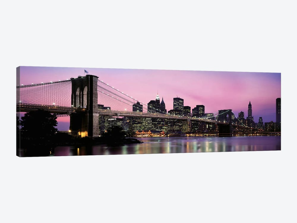 Brooklyn Bridge across the East River at dusk, Manhattan, New York City, New York State, USA by Panoramic Images 1-piece Canvas Art