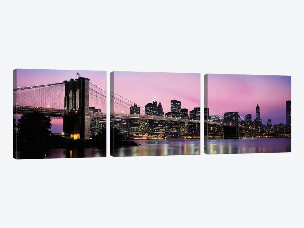 Brooklyn Bridge across the East River at dusk, Manhattan, New York City, New York State, USA by Panoramic Images 3-piece Canvas Artwork