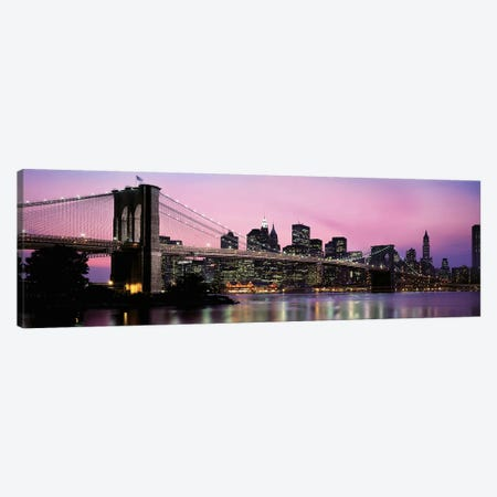 Brooklyn Bridge across the East River at dusk, Manhattan, New York City, New York State, USA Canvas Print #PIM9541} by Panoramic Images Canvas Print