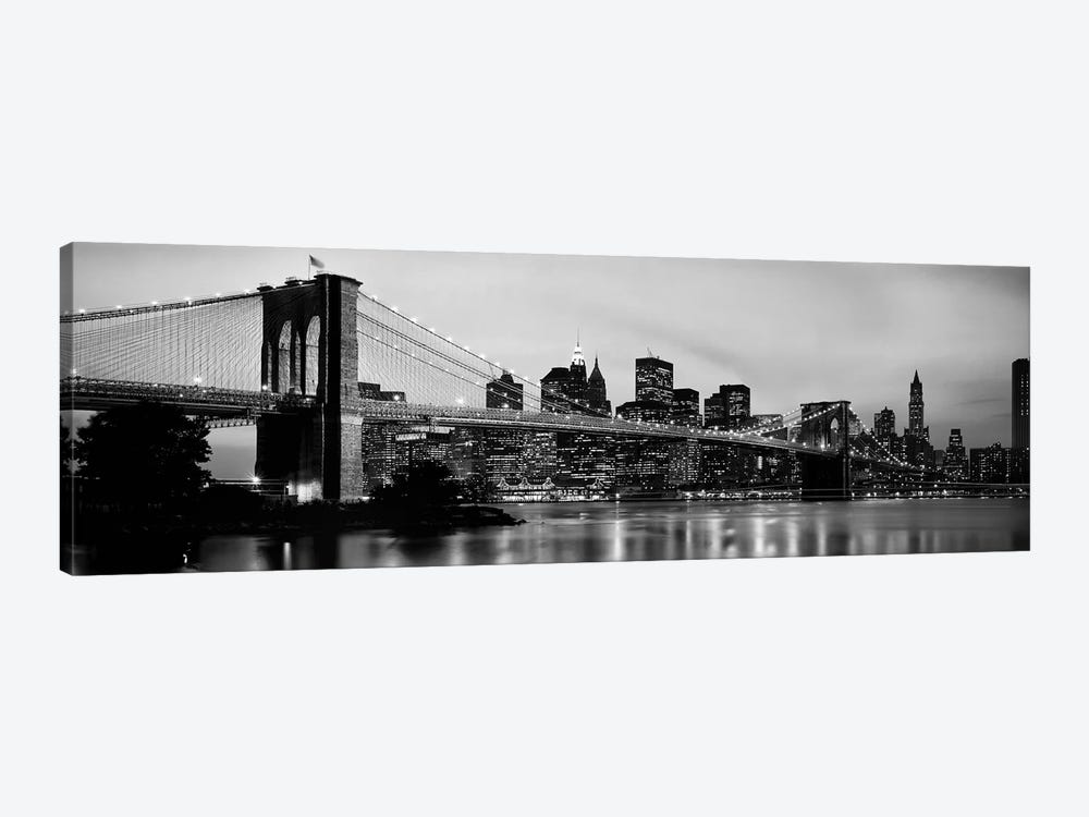 Brooklyn Bridge across the East River at dusk, Manhattan, New York City, New York State, USA by Panoramic Images 1-piece Art Print