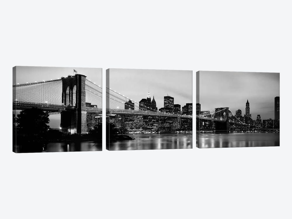Brooklyn Bridge across the East River at dusk, Manhattan, New York City, New York State, USA by Panoramic Images 3-piece Canvas Print