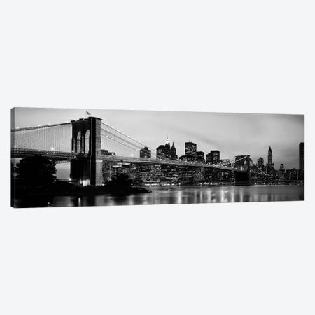 Brooklyn Bridge across the East River at dusk, Manhattan, New York City, New York State, USA Canvas Print #PIM9542} by Panoramic Images Art Print