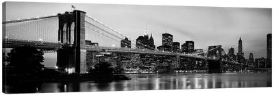 Brooklyn Bridge across the East River at dusk, Manhattan, New York City, New York State, USA Canvas Art Print
