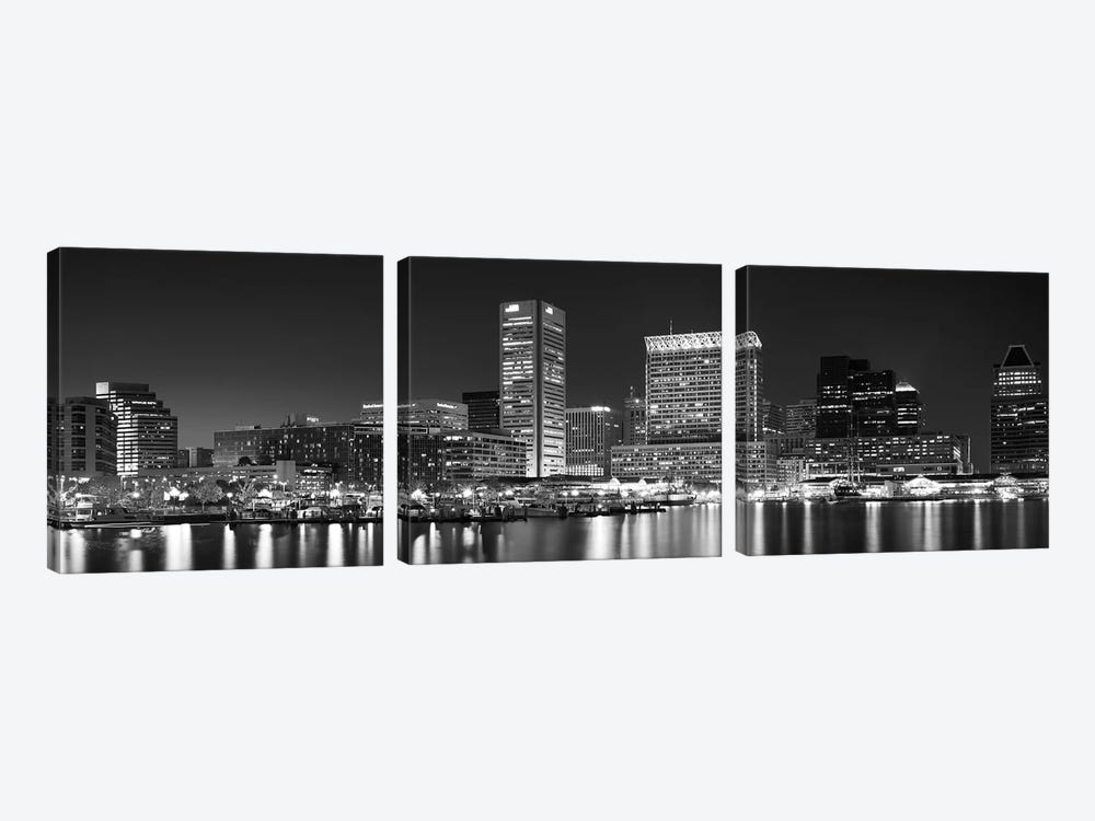 City at the waterfront, Baltimore, Maryland, USA by Panoramic Images 3-piece Canvas Print