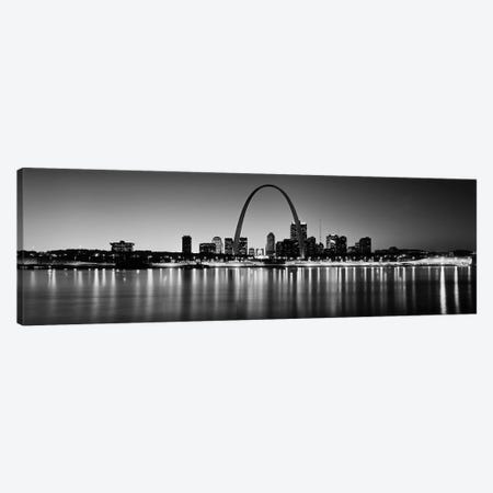 City lit up at night, Gateway Arch, Mississippi River, St. Louis, Missouri, USA Canvas Print #PIM9545} by Panoramic Images Canvas Artwork