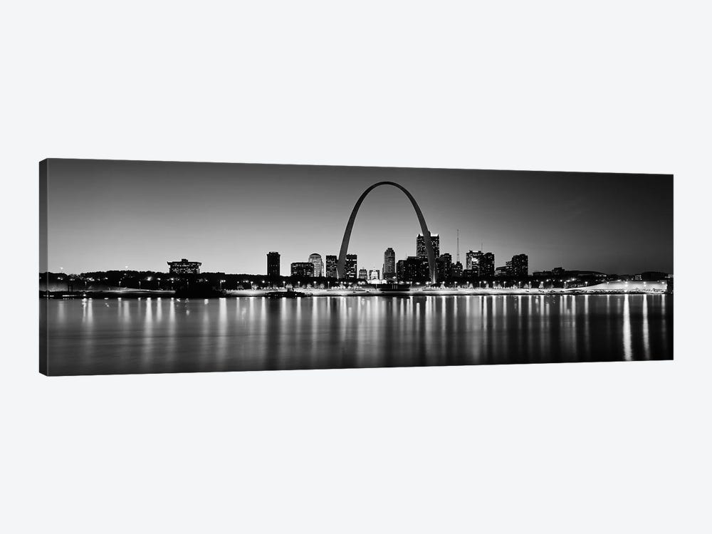 City lit up at night, Gateway Arch, Mississippi River, St. Louis, Missouri, USA by Panoramic Images 1-piece Canvas Artwork