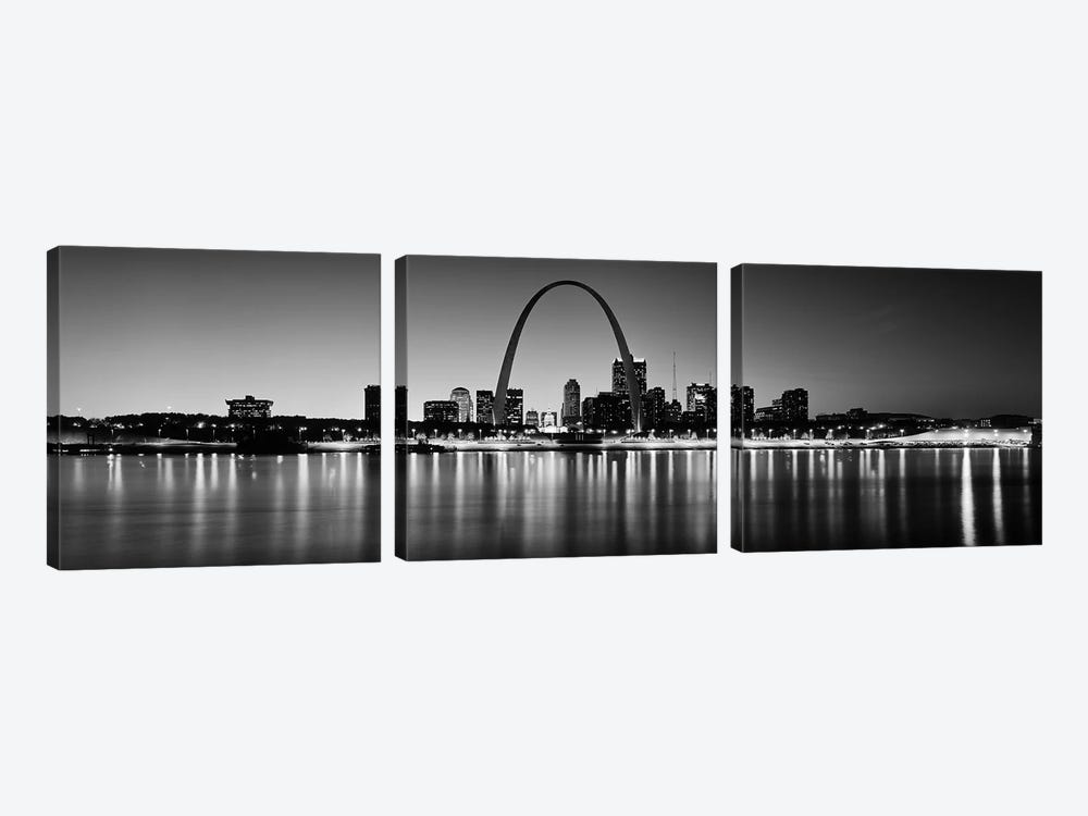 City lit up at night, Gateway Arch, Mississippi River, St. Louis, Missouri, USA by Panoramic Images 3-piece Canvas Art
