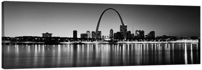 City lit up at night, Gateway Arch, Mississippi River, St. Louis, Missouri, USA Canvas Art Print