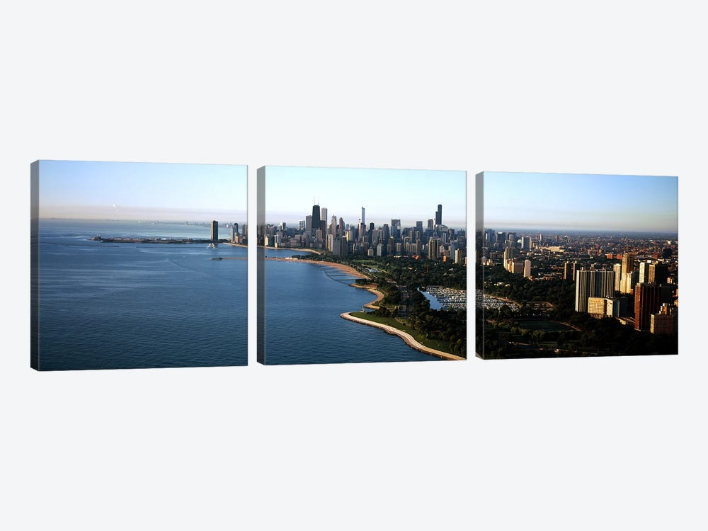 Skyscrapers at the waterfront, Grant Park, Lake Michigan, Chicago, Cook County, Illinois, USA 2011 by Panoramic Images 3-piece Canvas Art