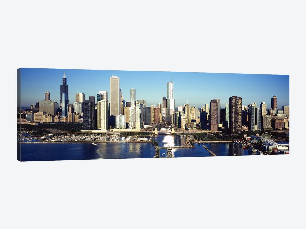 Skyscrapers in a cityNavy Pier, Chicago Harbor, Chicago, Cook County, Illinois, USA by Panoramic Images 1-piece Canvas Art