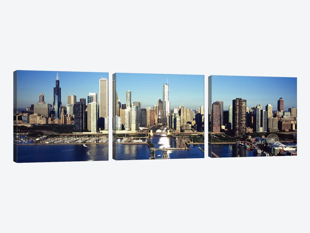 Skyscrapers in a cityNavy Pier, Chicago Harbor, Chicago, Cook County, Illinois, USA by Panoramic Images 3-piece Canvas Art