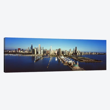 High-Angle View Of Navy Pier And Downtown Skyline, Chicago, Cook County, Illinois, USA Canvas Print #PIM9553} by Panoramic Images Canvas Wall Art