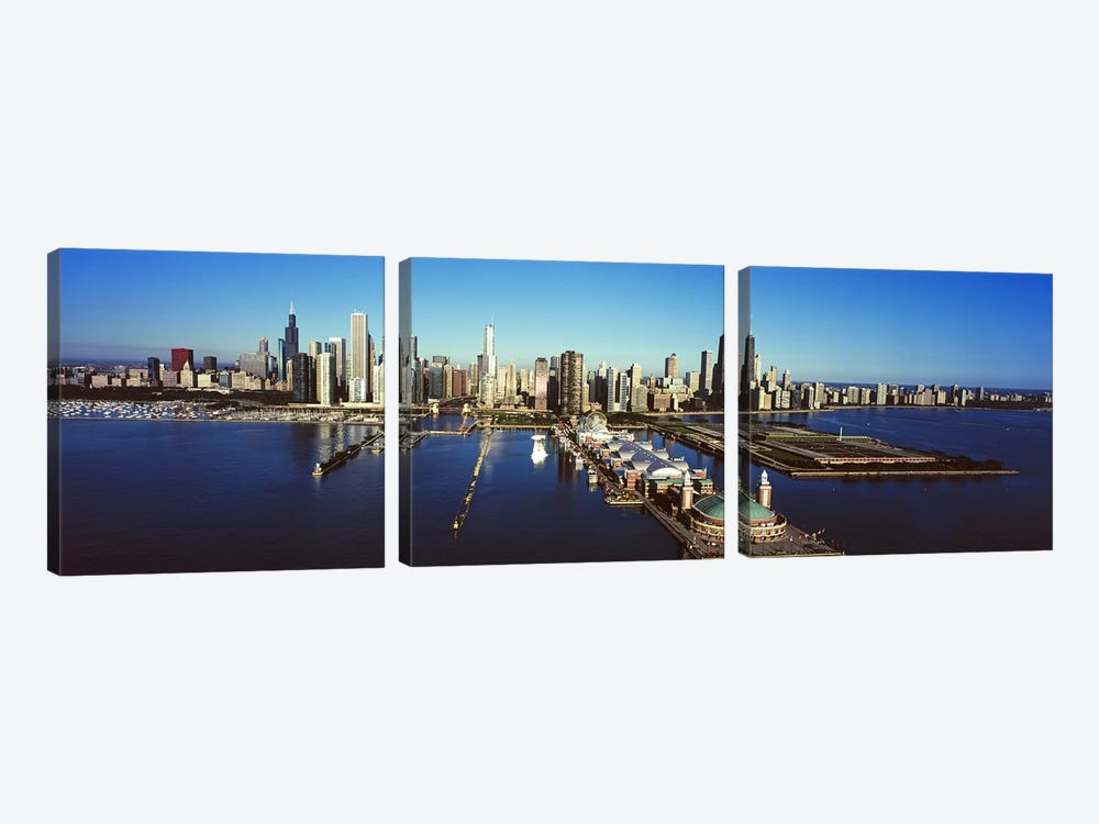 High-Angle View Of Navy Pier And Downtown Skyline, Chicago, Cook County, Illinois, USA by Panoramic Images 3-piece Canvas Art Print