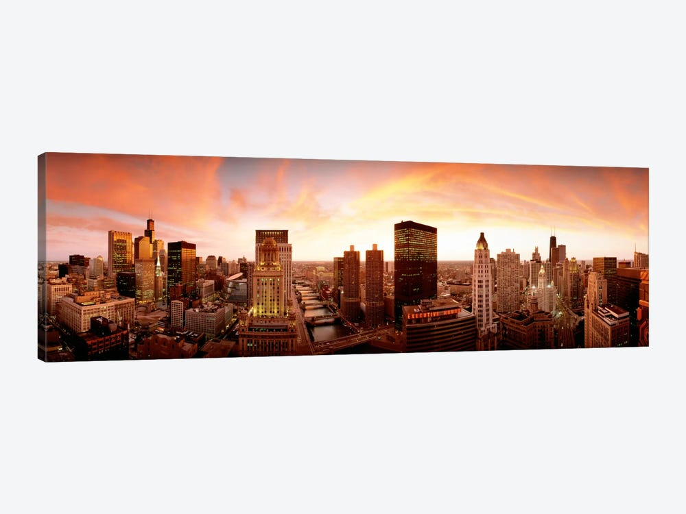 Sunset Skyline Chicago IL USA 1-piece Canvas Art Print