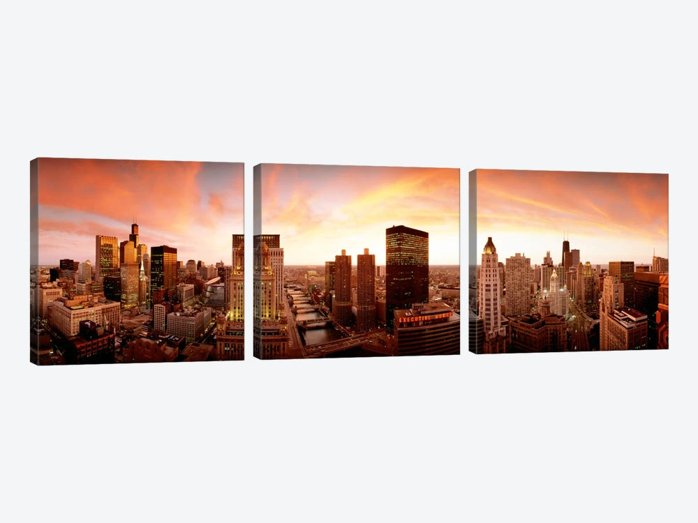 Sunset Skyline Chicago IL USA 3-piece Canvas Art Print