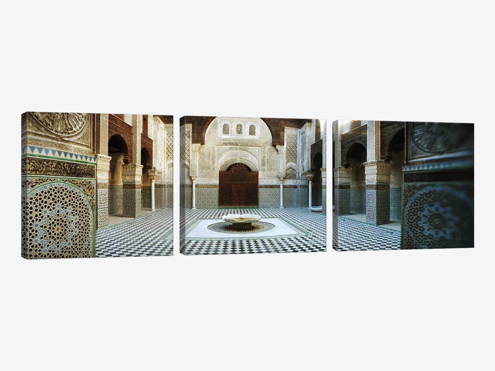 Interiors of a medersa, Medersa Bou Inania, Fez, Morocco by Panoramic Images 3-piece Canvas Art