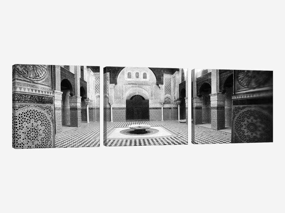 Interiors of a medersa, Medersa Bou Inania, Fez, Morocco #2 by Panoramic Images 3-piece Canvas Print