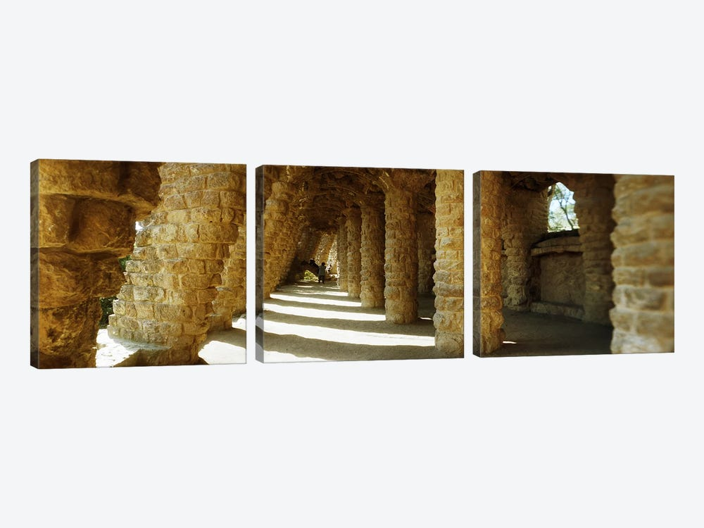Architectural detail of the famous park designed by Catalan architect Antonio Gaudi, Park Guell, Barcelona, Catalonia, Spain by Panoramic Images 3-piece Art Print