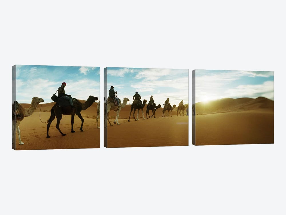 Tourists riding camels through the Sahara Desert landscape led by a Berber man, Morocco #2 3-piece Canvas Art