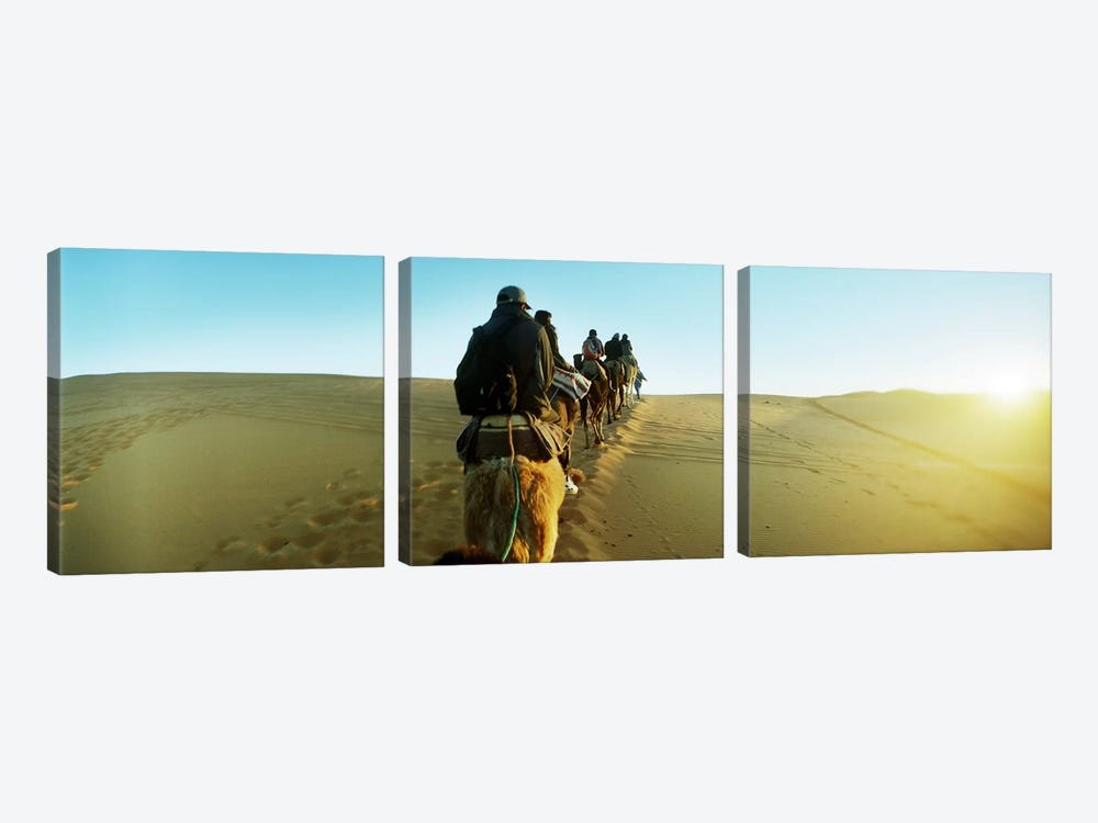 Row of people riding camels through the desert, Sahara Desert, Morocco by Panoramic Images 3-piece Art Print
