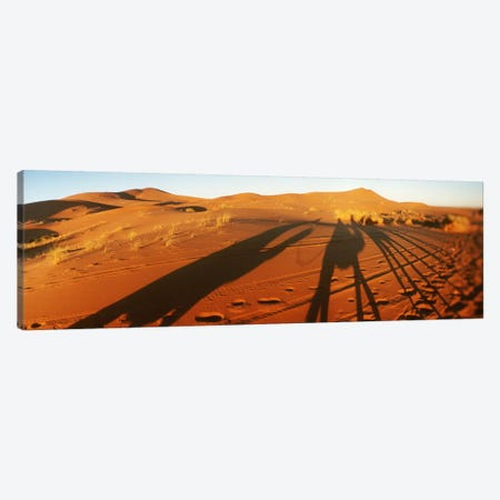 Shadows of camel riders in the desert at sunset, Sahara Desert, Morocco Canvas Print #PIM9592} by Panoramic Images Canvas Art