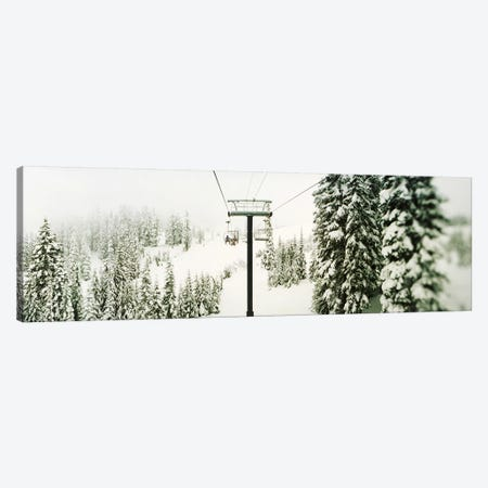 Chair lift and snowy evergreen trees at Stevens PassWashington State, USA Canvas Print #PIM9595} by Panoramic Images Art Print