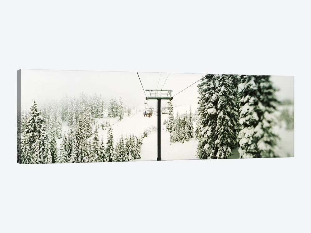 Chair lift and snowy evergreen trees at Stevens PassWashington State, USA by Panoramic Images 1-piece Canvas Print