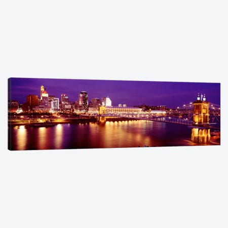 USAOhio, Cincinnati, night Canvas Print #PIM959} by Panoramic Images Canvas Art