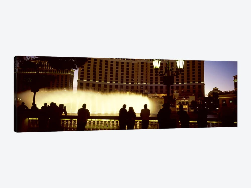 Tourists looking at a fountainLas Vegas, Clark County, Nevada, USA by Panoramic Images 1-piece Canvas Art Print