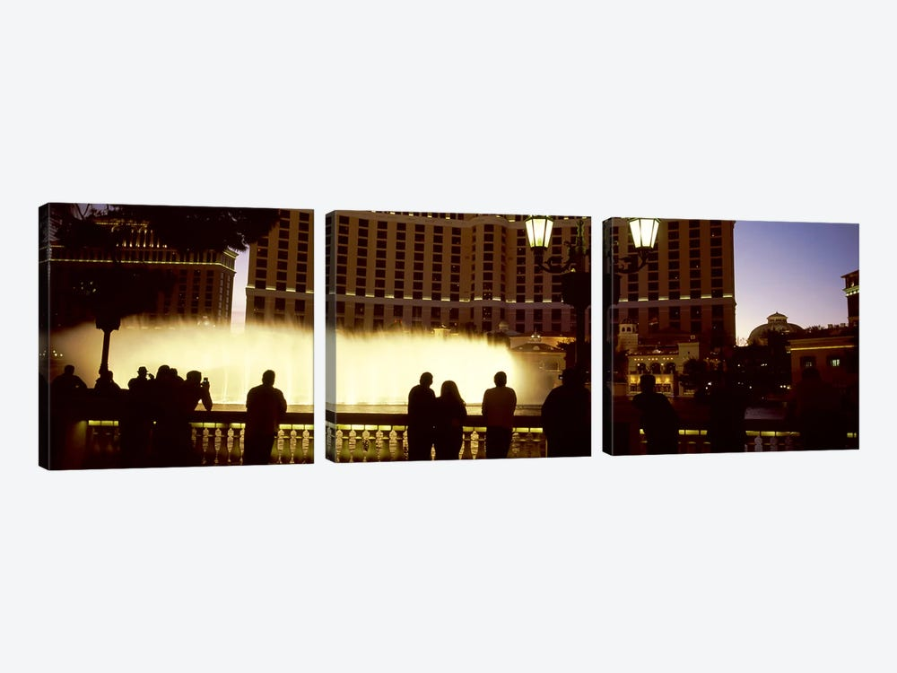 Tourists looking at a fountainLas Vegas, Clark County, Nevada, USA by Panoramic Images 3-piece Canvas Print