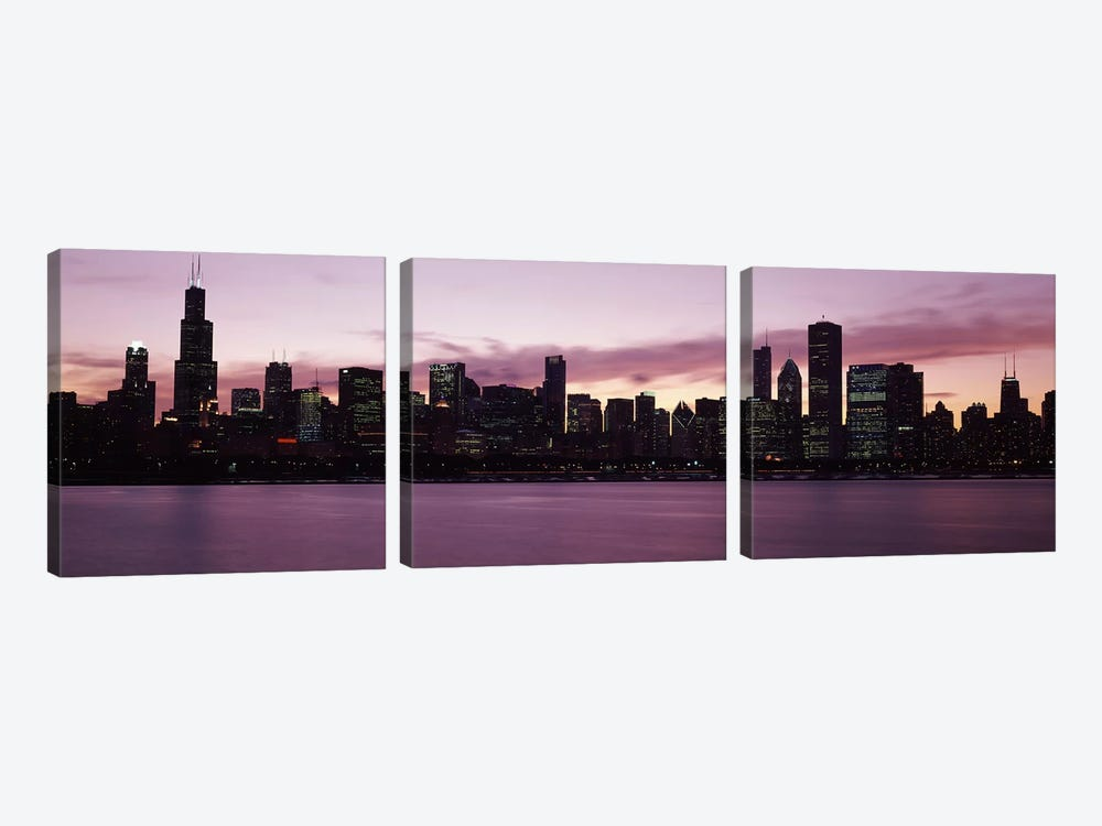 Buildings at the waterfront, Lake Michigan, Chicago, Illinois, USA 2011 by Panoramic Images 3-piece Canvas Art Print