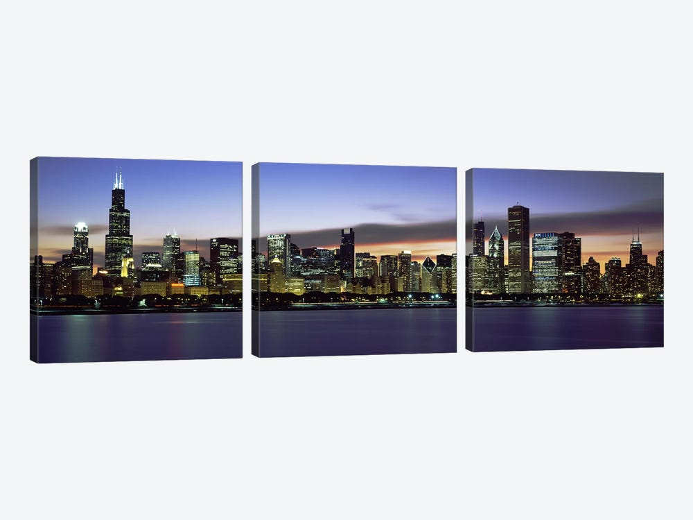 Buildings at the waterfront, Lake Michigan, Chicago, Illinois, USA by Panoramic Images 3-piece Canvas Art