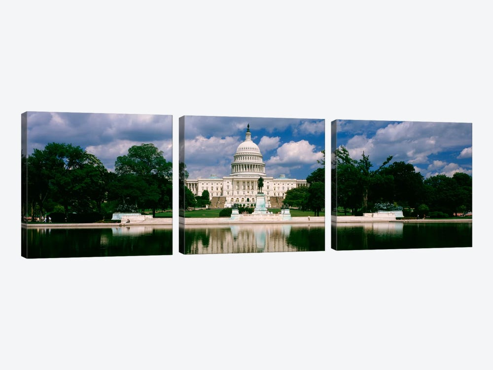 Government building on the waterfront, Capitol Building, Washington DC, USA 3-piece Canvas Artwork