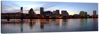 Buildings at the waterfront, Portland, Multnomah County, Oregon, USA Canvas Art Print