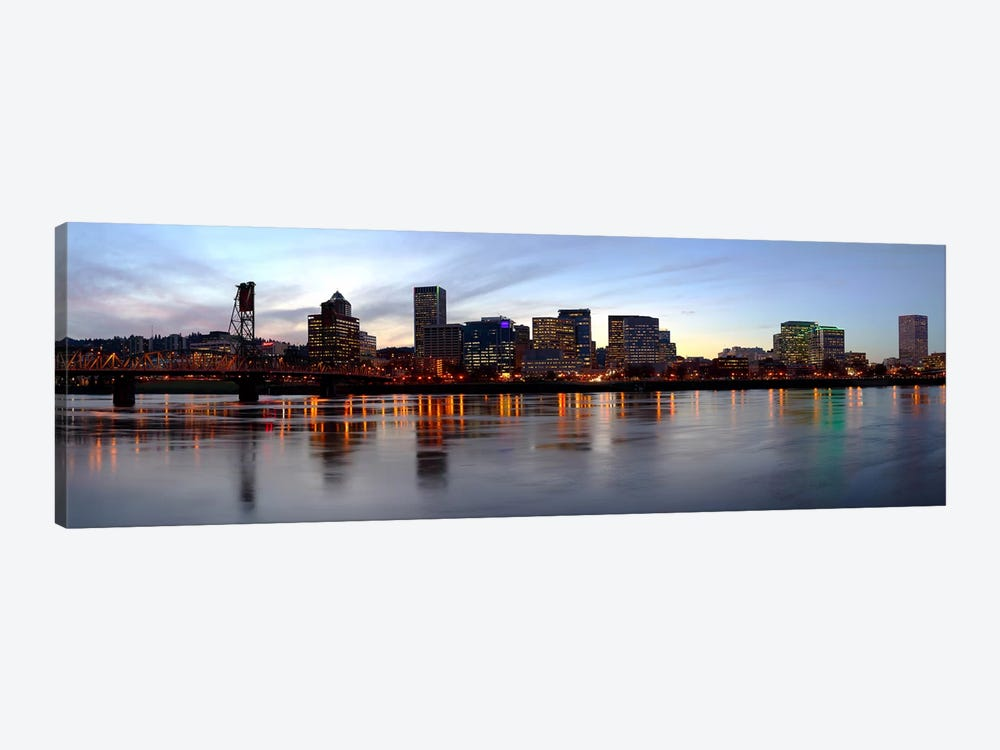 Buildings at the waterfront, Portland, Multnomah County, Oregon, USA by Panoramic Images 1-piece Canvas Art Print