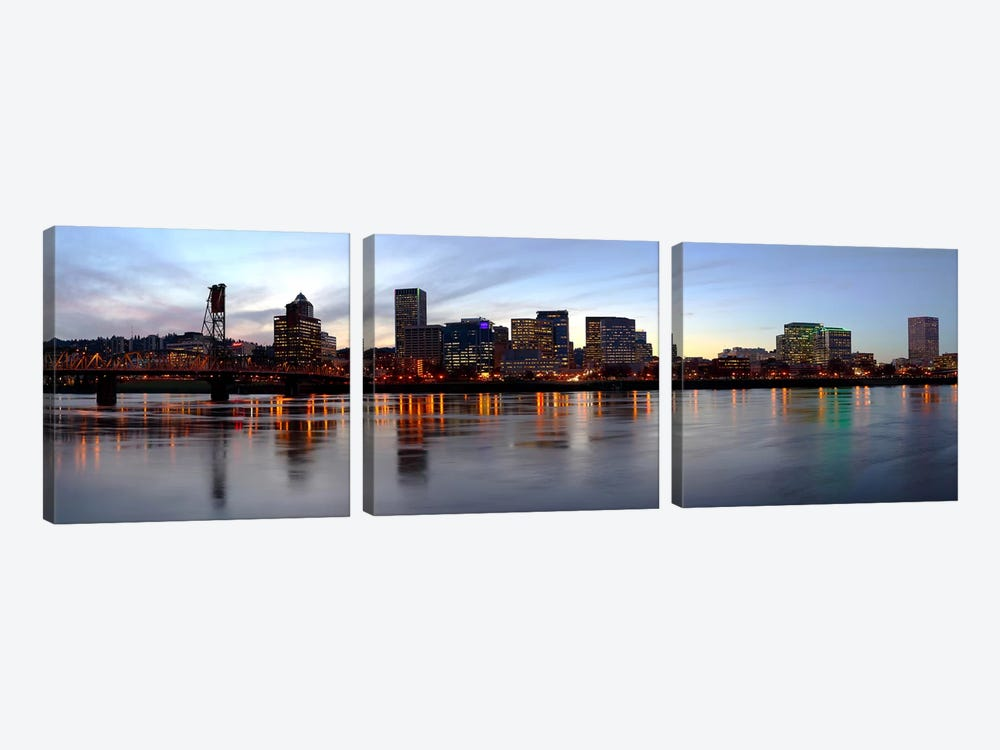 Buildings at the waterfront, Portland, Multnomah County, Oregon, USA by Panoramic Images 3-piece Art Print