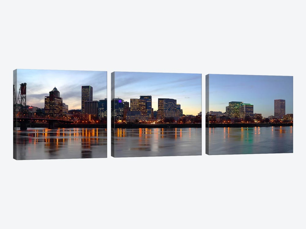 Buildings at the waterfront, Portland, Multnomah County, Oregon, USA #2 by Panoramic Images 3-piece Canvas Wall Art
