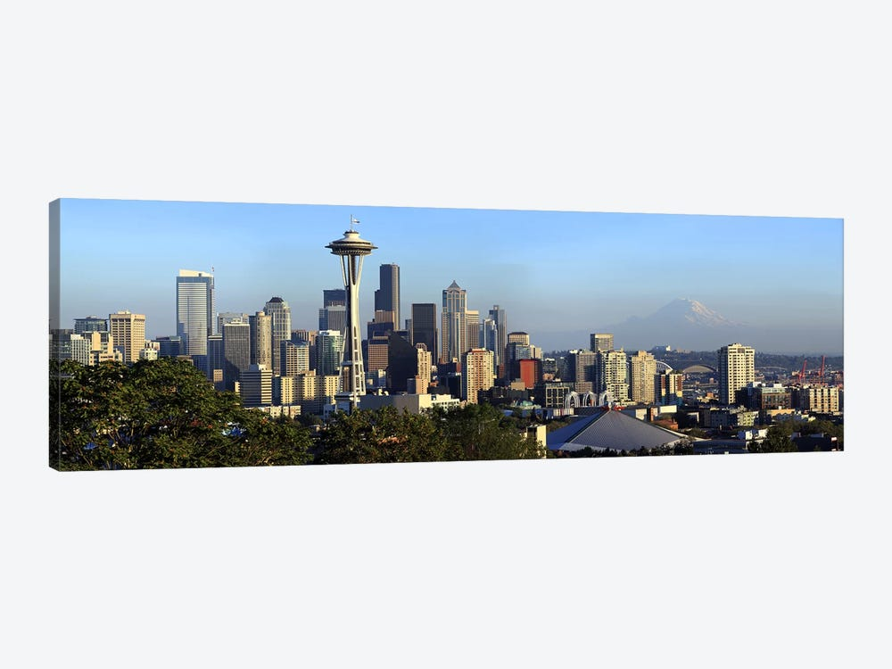 Seattle city skyline with Mt. Rainier in the background, King County, Washington State, USA 2010 by Panoramic Images 1-piece Art Print