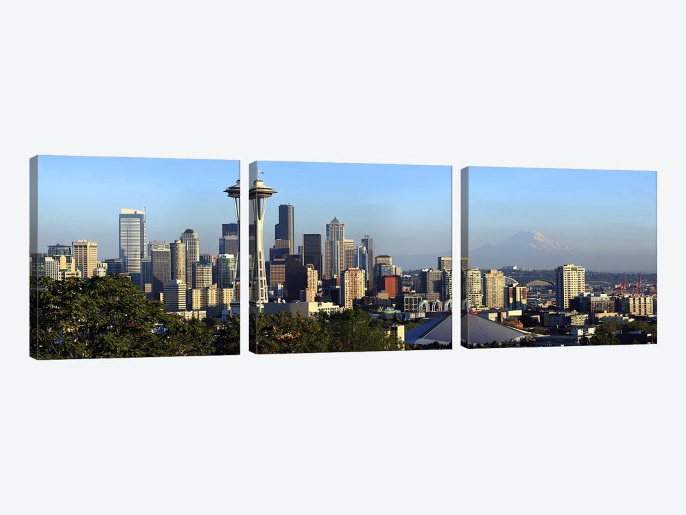 Seattle city skyline with Mt. Rainier in the background, King County, Washington State, USA 2010 by Panoramic Images 3-piece Canvas Print