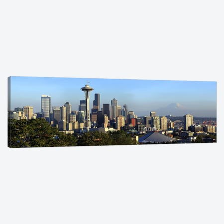 Seattle city skyline with Mt. Rainier in the background, King County, Washington State, USA 2010 3-Piece Canvas #PIM9628} by Panoramic Images Canvas Wall Art