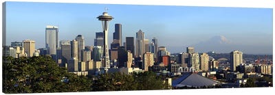 Seattle city skyline with Mt. Rainier in the background, King County, Washington State, USA 2010 Canvas Art Print
