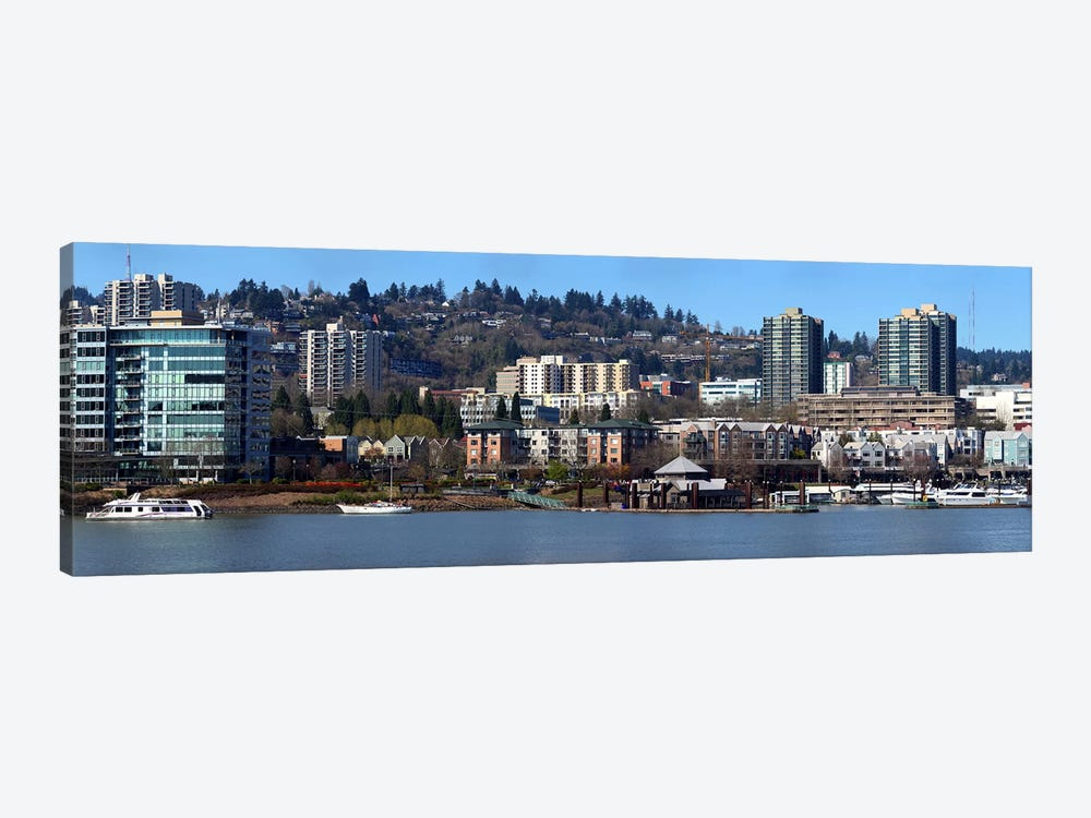 Buildings at the waterfront, Portland, Multnomah County, Oregon, USA 2011 by Panoramic Images 1-piece Canvas Wall Art