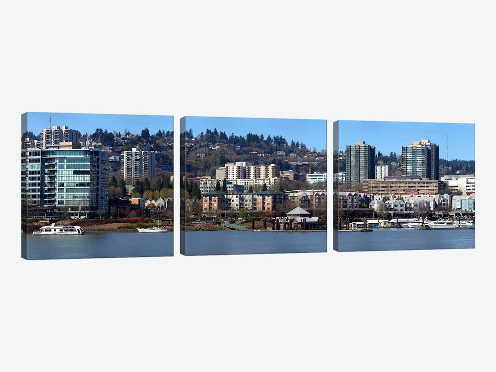 Buildings at the waterfront, Portland, Multnomah County, Oregon, USA 2011 by Panoramic Images 3-piece Canvas Art