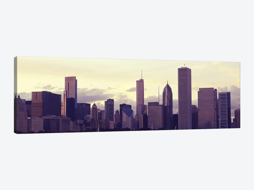 Buildings in a city at dusk, Chicago, Illinois, USA by Panoramic Images 1-piece Canvas Art