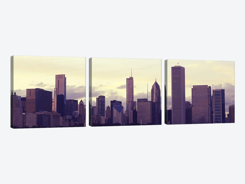 Buildings in a city at dusk, Chicago, Illinois, USA by Panoramic Images 3-piece Canvas Artwork