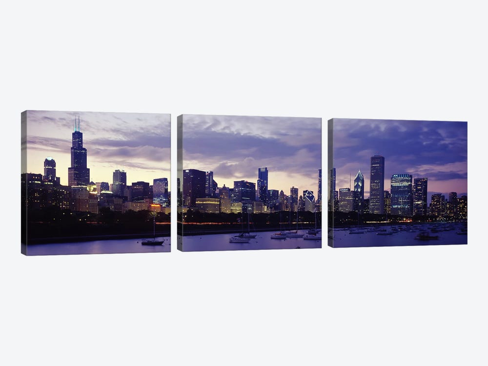 Buildings at the waterfront, Lake Michigan, Chicago, Illinois, USA by Panoramic Images 3-piece Canvas Print