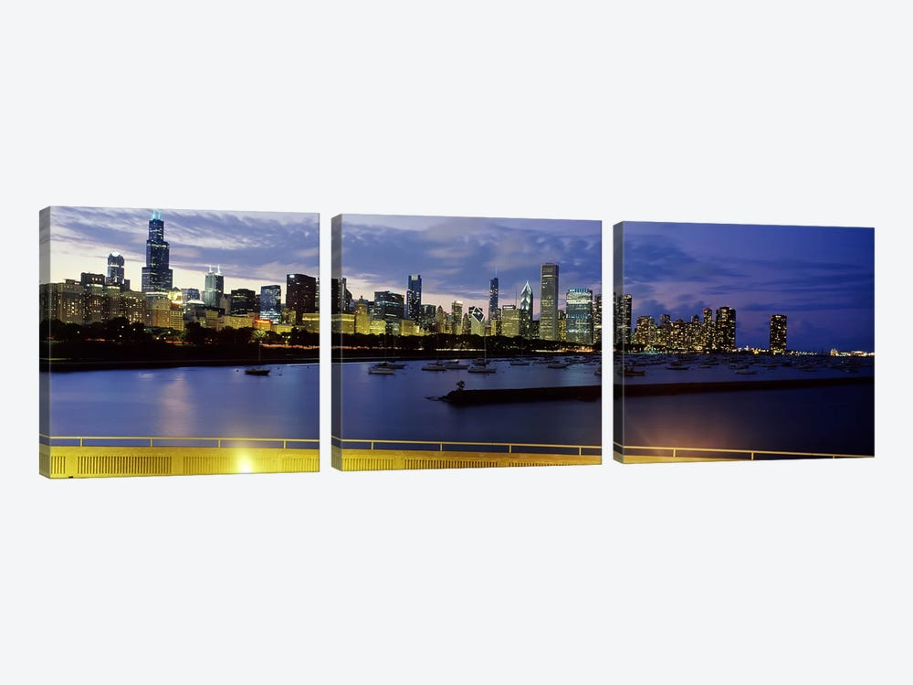 Buildings at the waterfront, Lake Michigan, Chicago, Illinois, USA #2 by Panoramic Images 3-piece Canvas Print