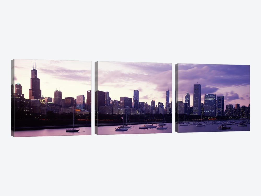 Buildings at the waterfront, Lake Michigan, Chicago, Illinois, USA #3 by Panoramic Images 3-piece Canvas Artwork