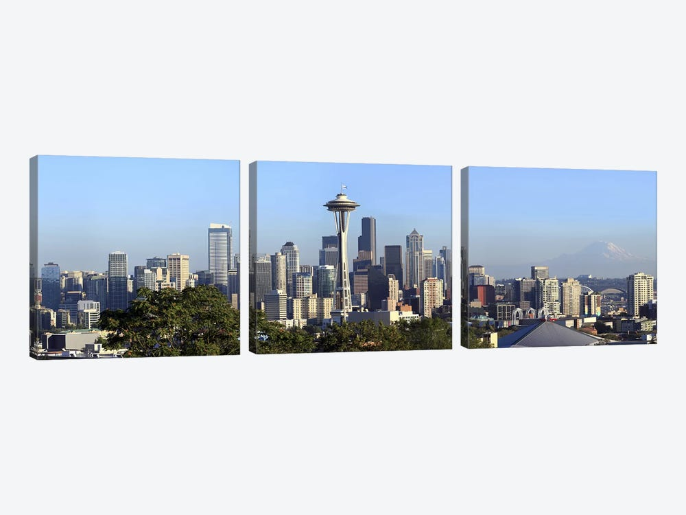 Seattle city skyline and downtown financial building, King County, Washington State, USA 2010 by Panoramic Images 3-piece Canvas Art Print